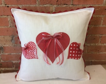Valentine decor Heart Pillow White Pillow with Red Hearts