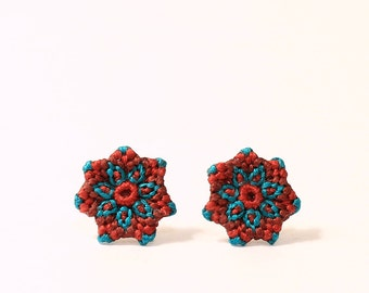 Stud flower earrings for everyday hippie boho colorful mandala macrame aqua brown