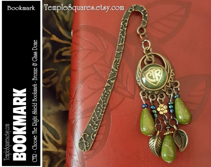 CTR Choose The Right Bookmark LDS Bronze Metal and Beads. Birthday Missionary Christmas Visiting Teaching Relief Society Jewelry Gift 2017