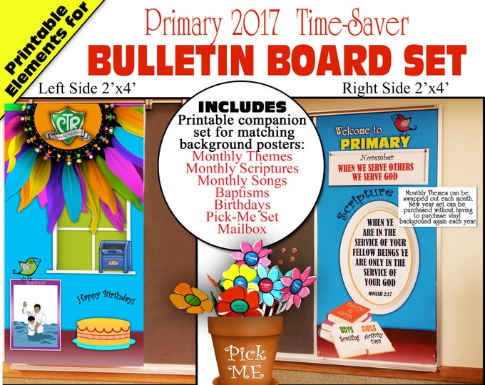 Primary Bulletin Board 2017 CTR Choose The Right Printable Elements Bundle with Monthly themes, scriptures, songs, birthdays and more
