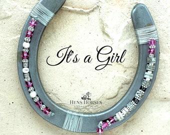 It's a Girl Personalized Horseshoe | Baby Shower | New Baby Girl | Pink Horseshoe | Pink Swarovski Crystal Horseshoe | Lucky Horseshoe