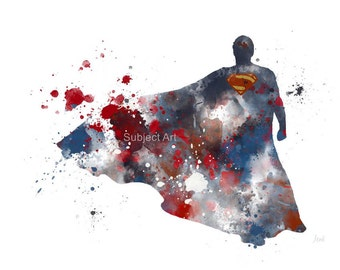 ART PRINT Superman inspired illustration, Superhero, Splatter, Silhouette, Wall Art, Home Decor