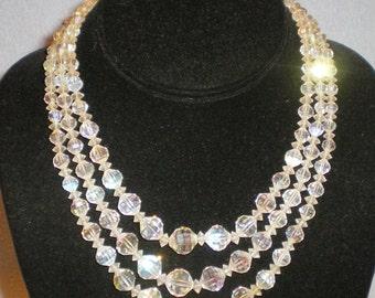 "Vintage Laguna Triple Stand Clear Rhinestone Crystal Necklace 16"""