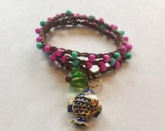 Crochet Wrap Bracelet Pink
