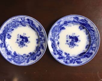 Pearl Wedgwood Flow Blue Antique Dinner Plates, Set of 2, Horticultural 1800s