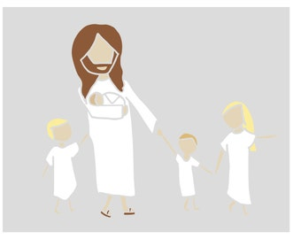 Custom Digital Jesus Christ and Children