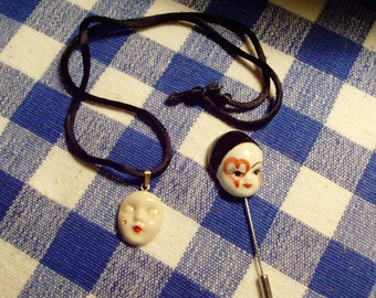 Face Necklace and Stick Pin Set