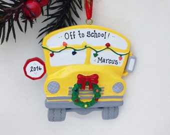 FREE SHIPPING Yellow School Bus Personalized Christmas Ornament / Bus Driver Christmas Ornament / School Ornament / Child Christmas Ornament