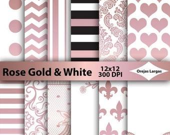 50% SALE Rose gold, white digital paper, rose gold, white, scrapbook paper, chevron, stripes, fleur de lis, heart, dots, lace, damask, weddi