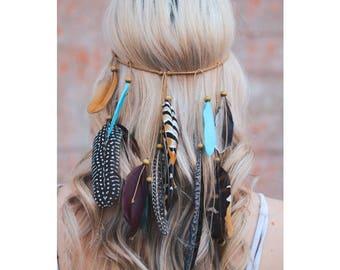 Feather Headband, Coachella Boho Feather Headband, Feather Headpiece, Feather Crown,Boho bohemian gypsy, womens headband, adult headband