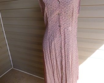 Women's Pink Biel Bonne Sleeveless Vintage 90s Long Floral Dress Sz 3