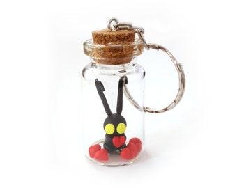 Kingdom Hearts Shadow Heartless Keychain in a jar with tiny hearts/ Kingdom hearts accessory/ Keychain miniature