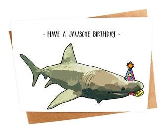 shark birthday card  etsy, Birthday card
