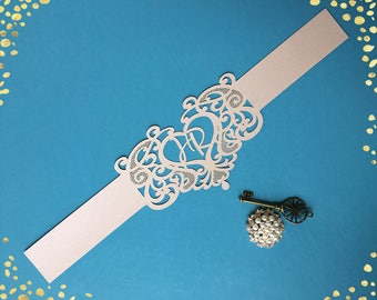 Exquisite Personalized Love Heart Belly Band for Wedding Invitations