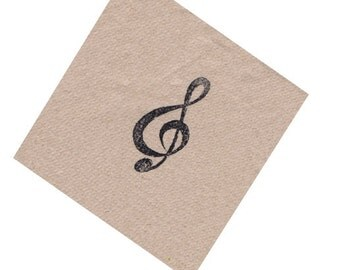 Music theme musical note brown kraft paper napkins hand stamped in black ink refreshment napkin