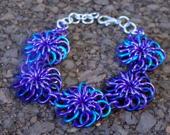 Purple and Blue Chrysanthemum Chainmaille Bracelet