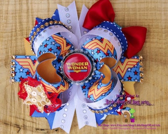 Wonder Woman inspired by DC comics deluxe large boutique bow ready to ship