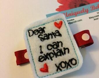 Santa letter felty hair clip-Christmas hair bow-Christmas hair bow-santa felty-Christmas felty-dear santa clip-Christmas clippie