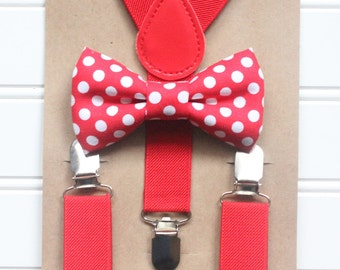 Bowtie and Suspenders Set/Red and White Polka Dot Bowtie/Red Suspenders/Baby and Toddler Bowties/Birthday Wedding Sets