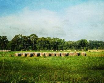 Summer Hay Field Fine Art Print or Canvas Wrap, Hay Field Farm Landscape Photographic Art