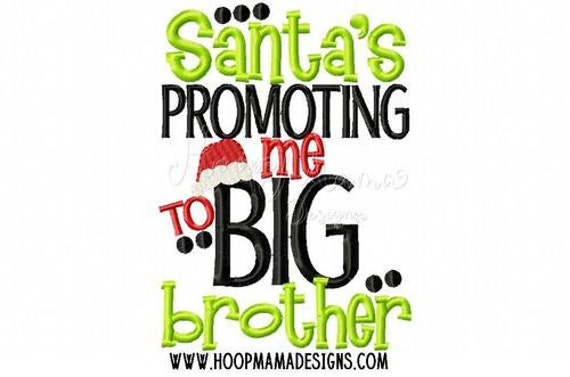 Santa's Promoting Me to Big Brother - Christmas Sibling Embroidered Shirt - Christmas Shirt - Girls Christmas Shirt - Boys Christmas Shirt