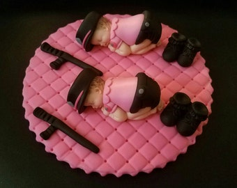 Fondant twins Police babies cake topper