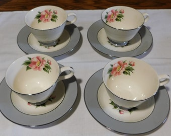 Set of 4 Homer Laughlin Empire Grey Footed Cups and Saucers