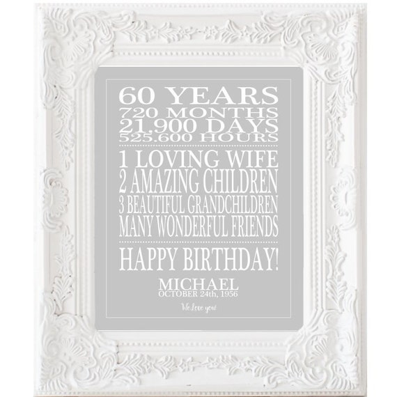 Gorgeous Personalized 60th Birthday Gifts For Her: 60th Birthday Gift Print Personalized Birthday Sign 60 Years