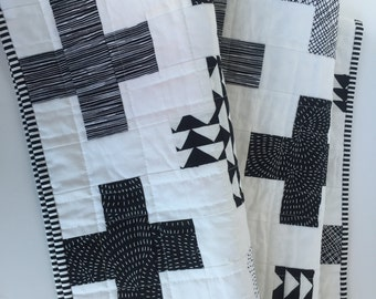 Black and White Modern Plus Baby Quilt