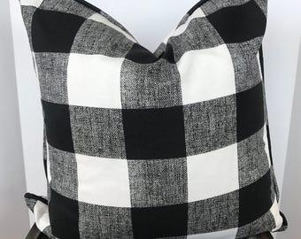 Black and White Buffalo Check Pillow Cover