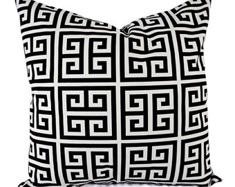 Decorative Pillow Covers - Two Black Geometric Throw Pillows - Greek Key Pillow Cover - Accent Pillow - 12x16 12x18 14x14 16x16 18x18 20x20