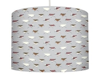 Organic Cotton Drum Lampshade made with Charley Harper Fabric Print Sandpiper birds in brown & white on grey background