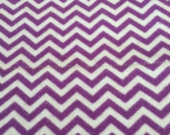 a standard pillowcase in a purple and white chevron print