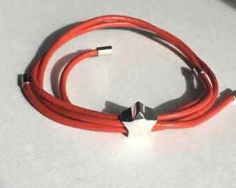 Orange Star Leather Slide Bracelet