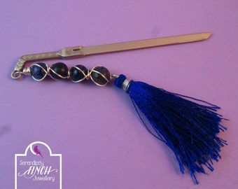 Sword Bookmark, Blue Lapis Lazuli Wire Wrapped Bookmark, Fantasy Bookmark, UK