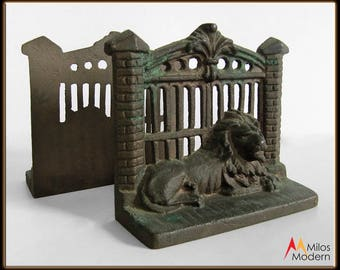 Beautiful Vintage 30s Heavy Cast Iron Bookends Pair - Lions and Metal Gate