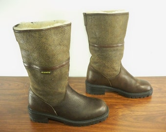 Vintage Blondo Made in Canada Shearling Leather Women's Fashion Mid Calf Boots Size 7 B
