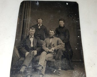 Vintage tin type/tin photograph/daguerreotype/old metal photo / victorian photo
