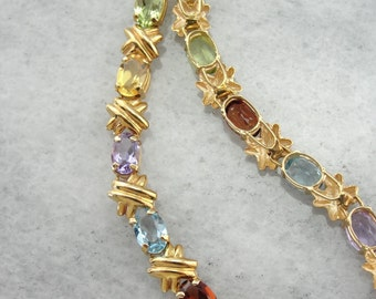 Multi Gemstone Tennis Bracelet in Yellow Gold, Hugs and Kisses Link C4NW9Z-P