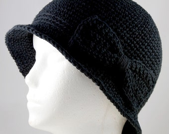 Cloche Hat in Black for Cancer Patients