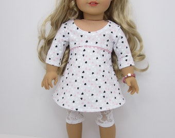 18 inch  doll clothes -  Pretty Tri-city dress  with tiny hearts and  white lace leggings.