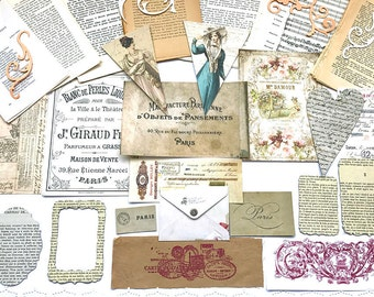 French Paris Journalling Kit - 50 Vintage French Book Pages, Inspiration Kit , Cardmaking , Scrapbooking , Collage, Altered Art  , Decoupage