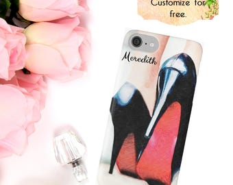 Louboutin Shoes Phone Case, High Heels iPhone Case, Fashion Luxury Phone Wallet, iPhone X 6 7 8 Plus, Samsung Galaxy Case S6 S7 S8 Edge Plus