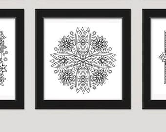Mandala Coloring Pages, Adult Coloring Page, Instanta Download, Printable Wall Art