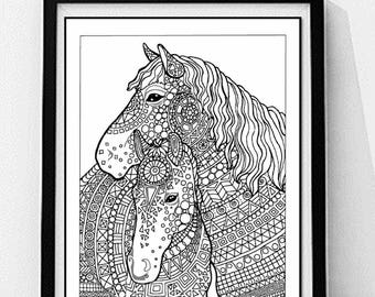 horse coloring page to print and color nature adult coloring page instant digital