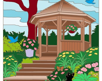 Gazebo Coloring Page, Cat and Animal Coloring Page, Instant Download, Wall Art, Gifts under twenty dollars