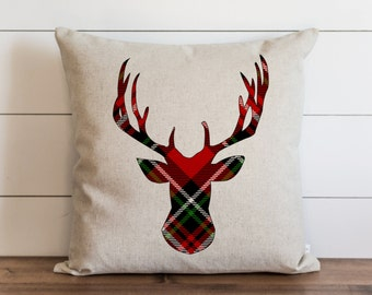 Tartan Deer 20 x 20 Pillow Cover // Christmas // Holiday // Throw Pillow // Gift  // Accent Pillow