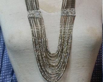 Brown beaded necklace, Beaded necklace. Beaded jewelry. Long beaded necklace. Layered jewelry. Gold beaded jewelry. Gold jewelry.