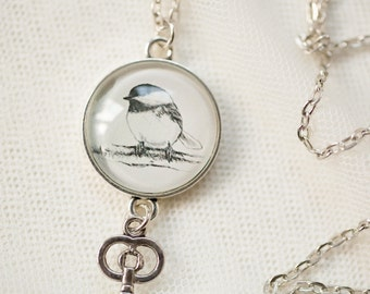 Chickadee Drawing Charm Necklace