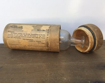 Antique Wood Mailing Tube For Liquids With Screw Lid Label Includes Glass Transport Bottle